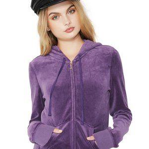 Juicy Couture Purple Velour Fitted Zip Hoodie